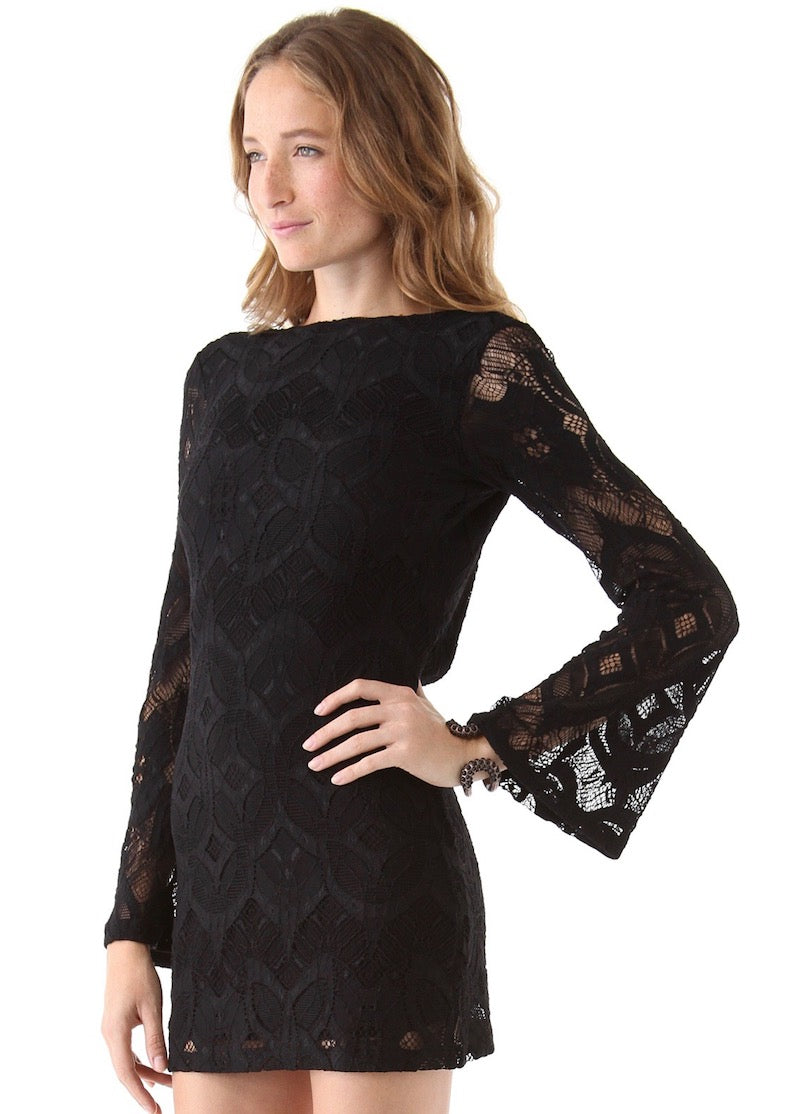 Nightcap Clothing Priscilla Lace Chain Mini Dress - Black Open Back