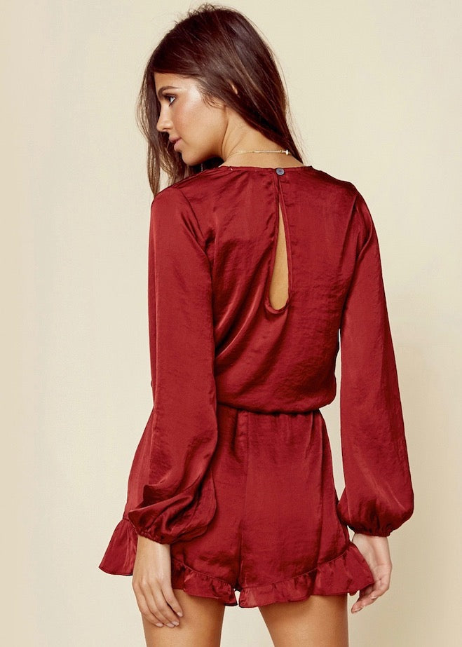 Show Me Your Mumu Ruby Satin Rocky Romper - Red Silk