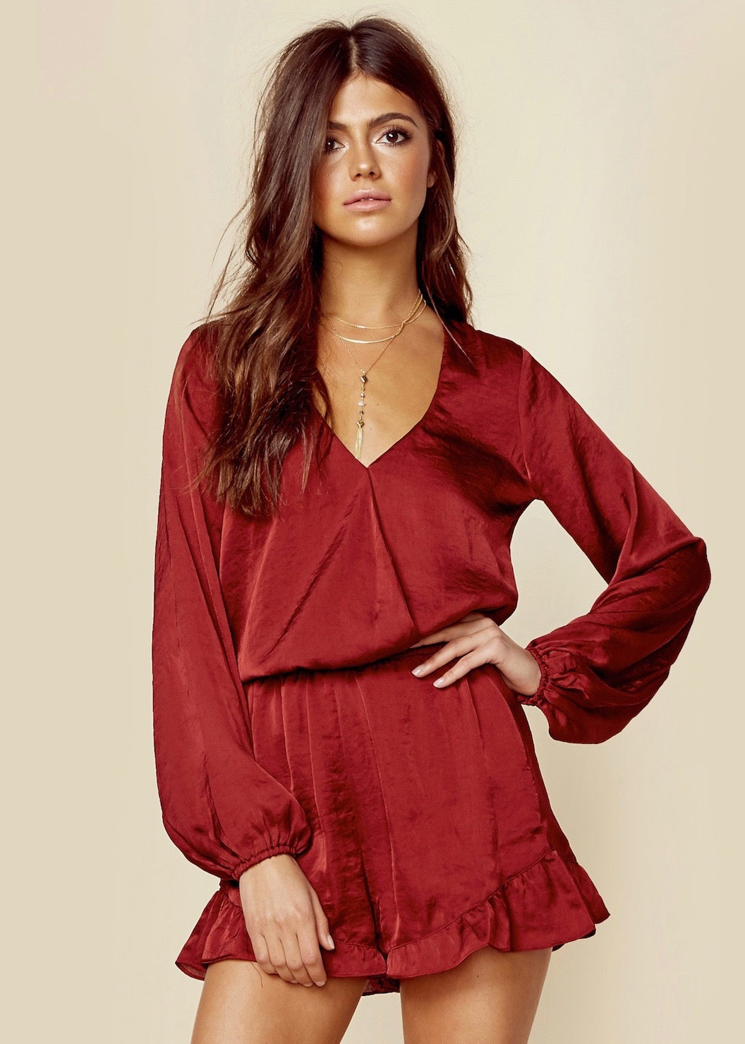 f2c9a50ed525 Show Me Your MuMu - Ruby Satin Rocky Romper - Red Silk – Silk and ...