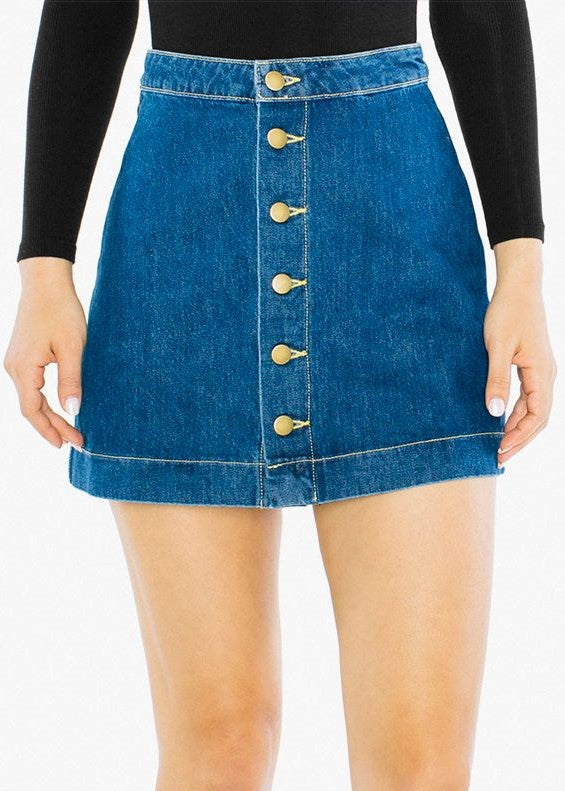 American Apparel Denim Button Front A-line Mini Skirt - Medium Wash