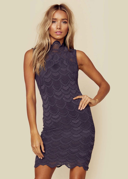 Nightcap Victorian Lace Sleeveless Mini Dress - Ash Gray