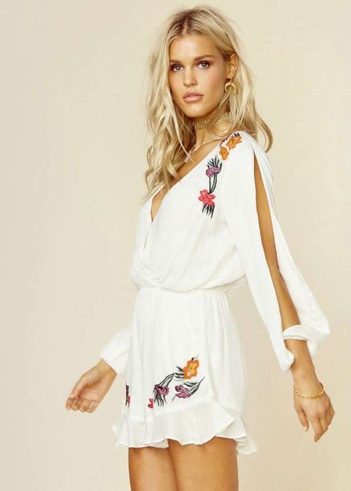 Lovers and Friends Adriana Embroidered Romper - Ivory White Flowers