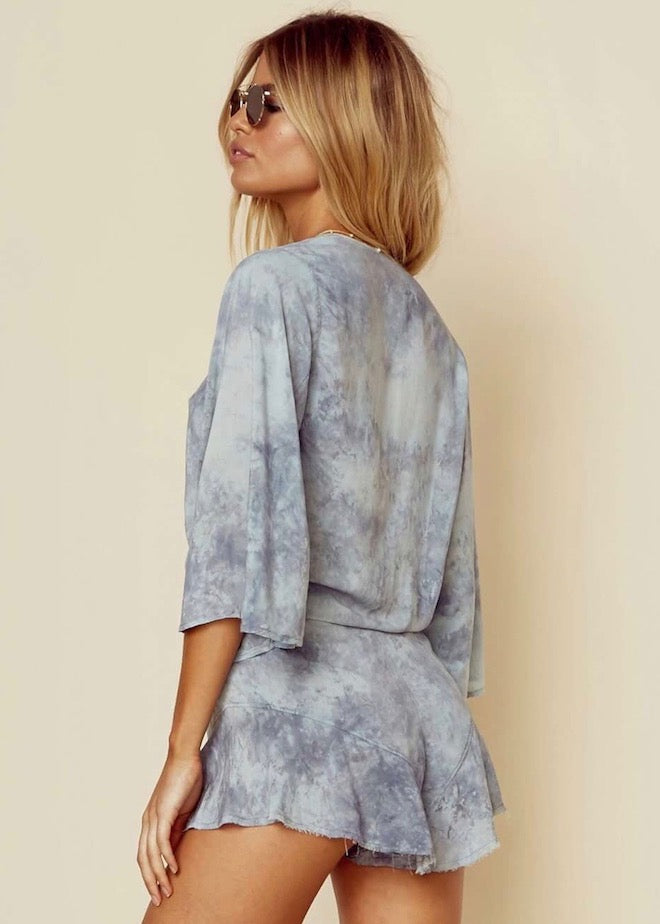 Planet Blue Blue Life Flora Romper - Denim Gray Blue Tie-Dye