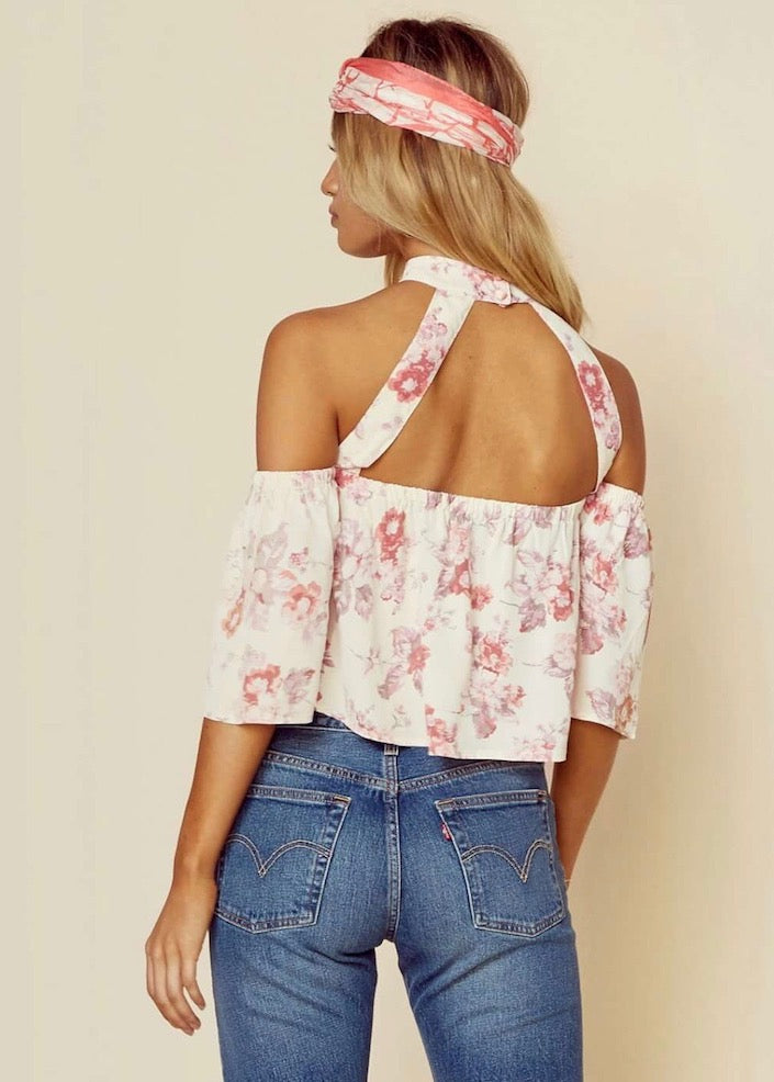 Flynn Skye Cream Blossom Rose Top - Off Shoulder - Pink Cream Floral