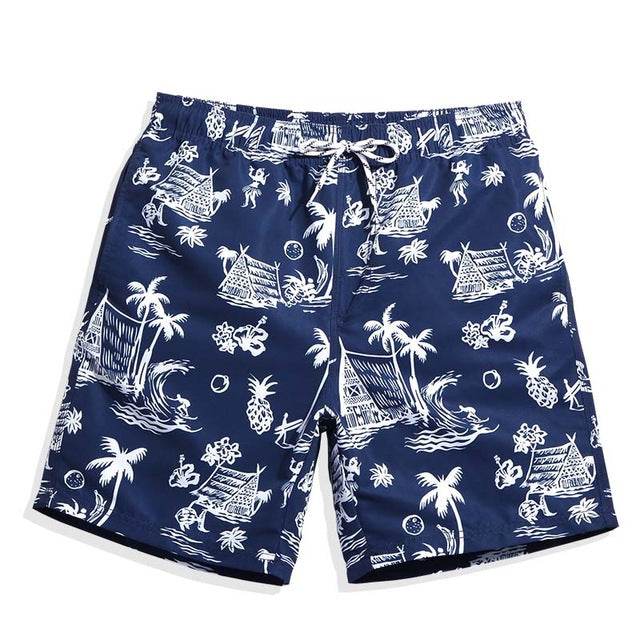 Beach Shorts Blue Tropical