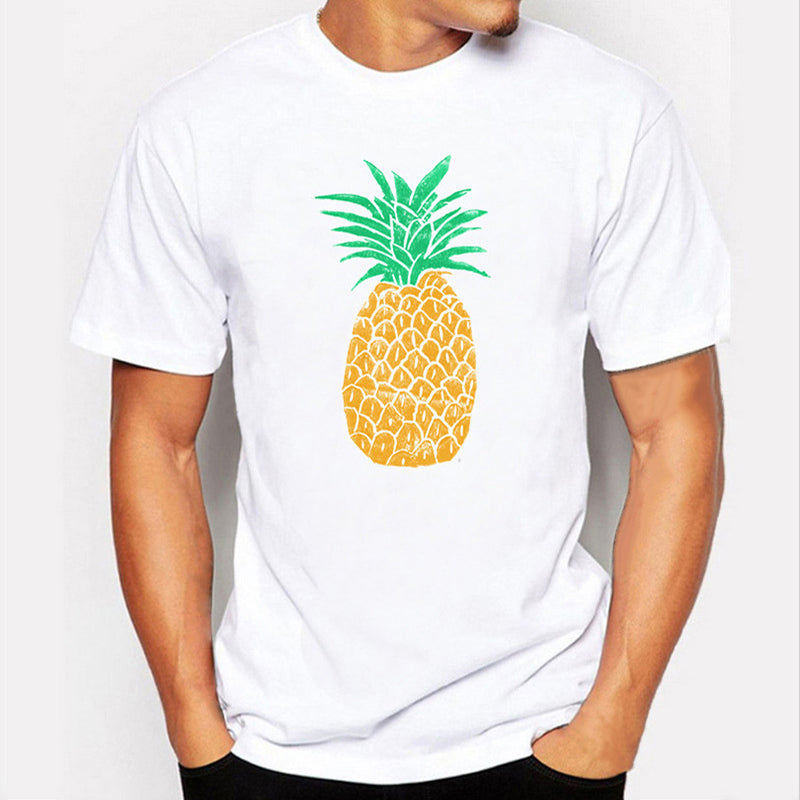2018 Men T Shirts Fashion Hawaii Pineapple Design Short Sleeve Casual Tops Round Neck Fruit Printed T-Shirt Men Cool Tee XXL