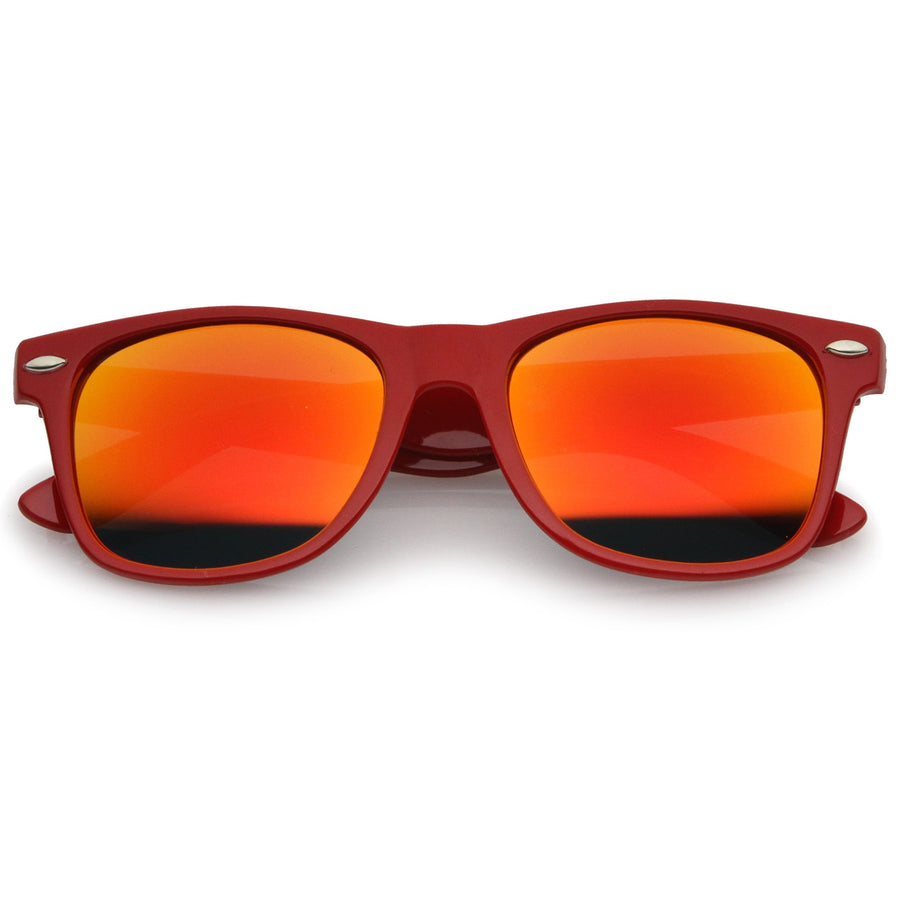 Retro Large Square Colored Mirror Lens Horn Rimmed Sunglasses 55mm (Red / Red-Orange Mirror)