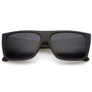 Men's Rubberized Flat Top Wide Temple Square Sunglasses 57mm (Black / Smoke)