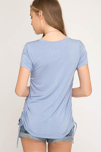 She + Sky - Short Sleeve Basic Knit Top with Adjustable Drawstring Sides - Sassy Girl Boutique NJ
