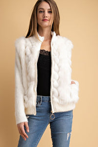 Davi & Dani - CLASSY FAUX FUR DETAILED KNIT JACKET - Sassy Girl Boutique NJ