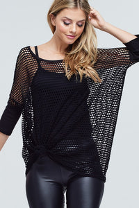 White Birch - Oversize Solid Fishnet Knit Top - Sassy Girl Boutique NJ