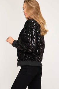 She + Sky - SEQUIN ZIP-UP BOMBER JACKET - Sassy Girl Boutique NJ