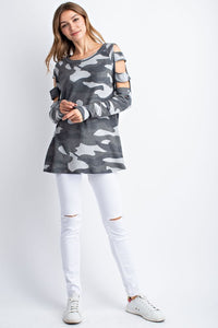 143 Story - HACCI BRUSHED CAMOUFLAGE PRINT CUT OFF SHOULDER DETAIL LONG SLEEVE TOP - Sassy Girl Boutique NJ