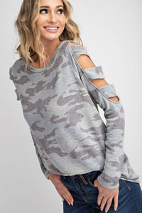 143 Story - Vintage Fleece Camo Cut Out Shoulder Top - Sassy Girl Boutique NJ
