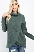 143 Story - Turtle Neck Front Overlap Long Sleeve Brushed Hacci Top - Sassy Girl Boutique NJ