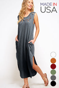 Fantastic Fawn - Sleeveless Distressed Tank Midi Dress with Pockets - Sassy Girl Boutique NJ