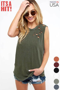 Fantastic Fawn - Sleeveless Distressed Cotton Slub Laser Cut Top - Sassy Girl Boutique NJ