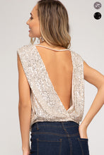 She + Sky - Sleeveless Sequin Top with Low Back - Sassy Girl Boutique NJ