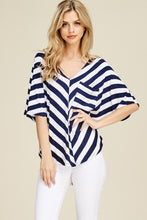 White Birch - Dolman Sleeve Striped Knit Top With A Pocket - Sassy Girl Boutique NJ