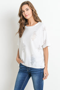 Le Lis - Simple Top with Distress Details - Sassy Girl Boutique NJ