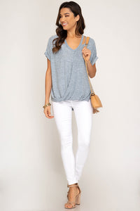 She + Sky - Short Sleeve Surpliced Top - Sassy Girl Boutique NJ