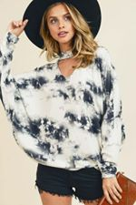 First Love - Tie-Dye Non Brushed Top with Choker Neckline - Sassy Girl Boutique NJ