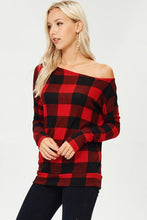 White Birch - Off the Shoulder Plaid Sweater - Sassy Girl Boutique NJ