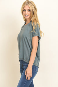 Le Lis - Solid Short Sleeve Top with Inside Out Seams - Sassy Girl Boutique NJ
