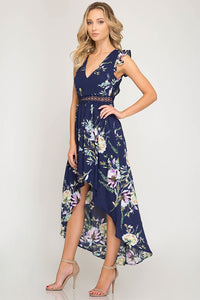 She + Sky - FLORAL PRINT HI-LOW MAXI DRESS - Sassy Girl Boutique NJ