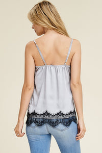 Solution - Lace Trim Satin Cami Top - Sassy Girl Boutique NJ