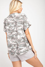 143 Story - Camo Short Sleeve Grommet Lace Up Top - Sassy Girl Boutique NJ