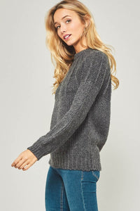 Promesa - Solid Long Sleeve Knit Sweater - Sassy Girl Boutique NJ