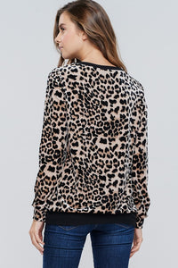 White Birch - Cheetah Print Velvet Knit Top - Sassy Girl Boutique NJ