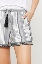 Promesa - Stripe Print Tasseled Shorts with Embroidered Lace Trim - Sassy Girl Boutique NJ