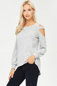 White Birch - Shoulder Cutout Sweater - Sassy Girl Boutique NJ