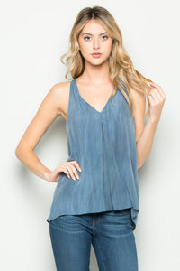 A. OK - FRONT PLEAT HALTER TANK - Sassy Girl Boutique NJ