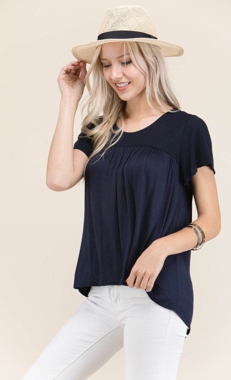 A. OK LOVELY SHORT SLEEVE TOP - Sassy Girl Boutique NJ