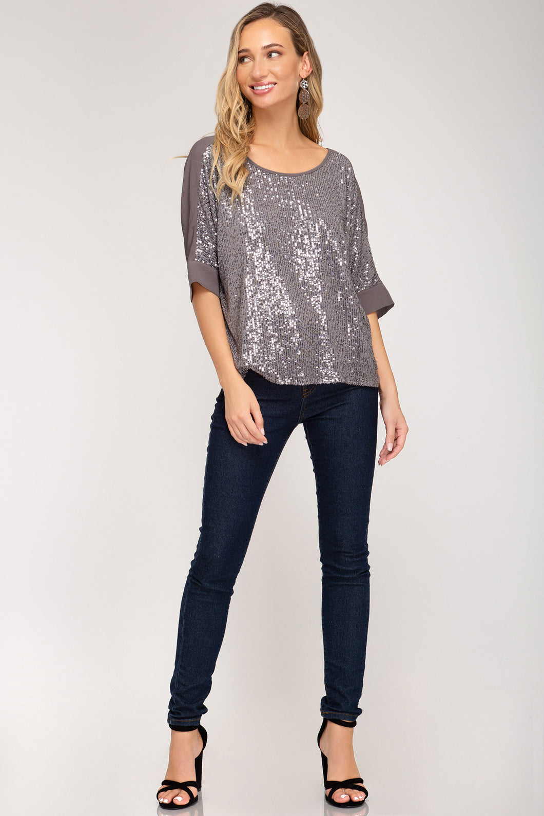 She + Sky - Batwing Sequin Top with Contrast Back