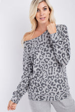143 Story - WIDE NECK LEOPARD PRINTED BRUSHED HACCI TOP - Sassy Girl Boutique NJ
