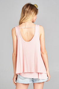 Hummingbird - Sleeveless Waffle Tank with Contrast Hem - Sassy Girl Boutique NJ