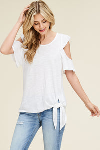 White Birch -Ruffle Sleeve Cold Shoulder Top - Sassy Girl Boutique NJ