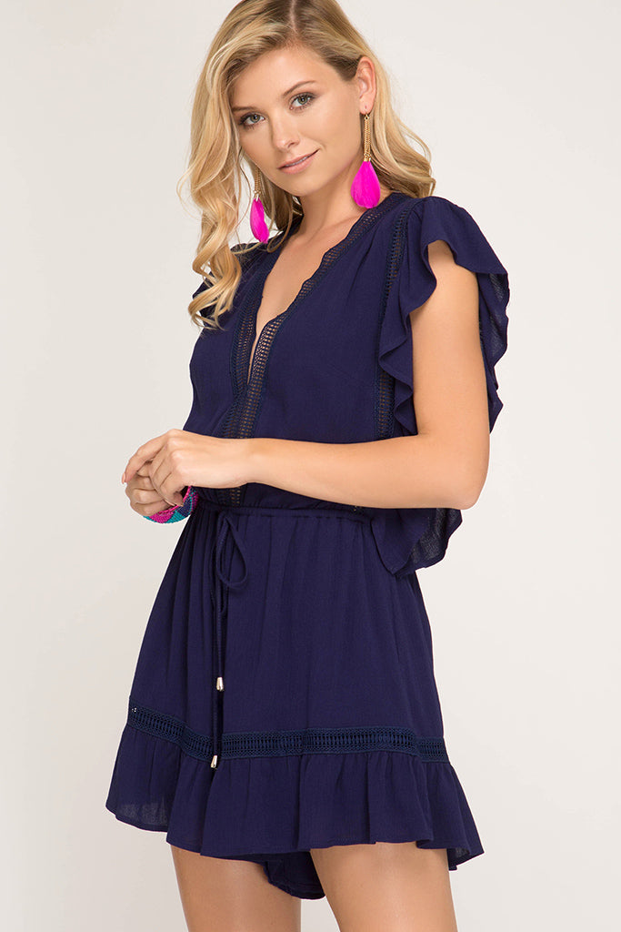 She + Sky - RUFFLE SLEEVE WOVEN ROMPER WITH LACE TRIM - Sassy Girl Boutique NJ