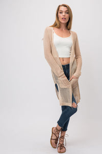 Cozy Casual - Light Wide Gauge Knit Open Cardigan - Sassy Girl Boutique NJ