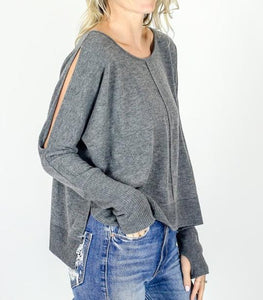 Six Fifty - Arm Slit Sweatshirt - Sassy Girl Boutique NJ