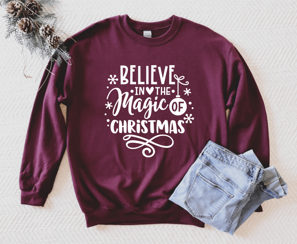 Believe In The Magic Of Christmas Unisex Adult Crew Neck Sweatshirt - Christmas Sweatshirt - Christmas Holiday Sweatshirt