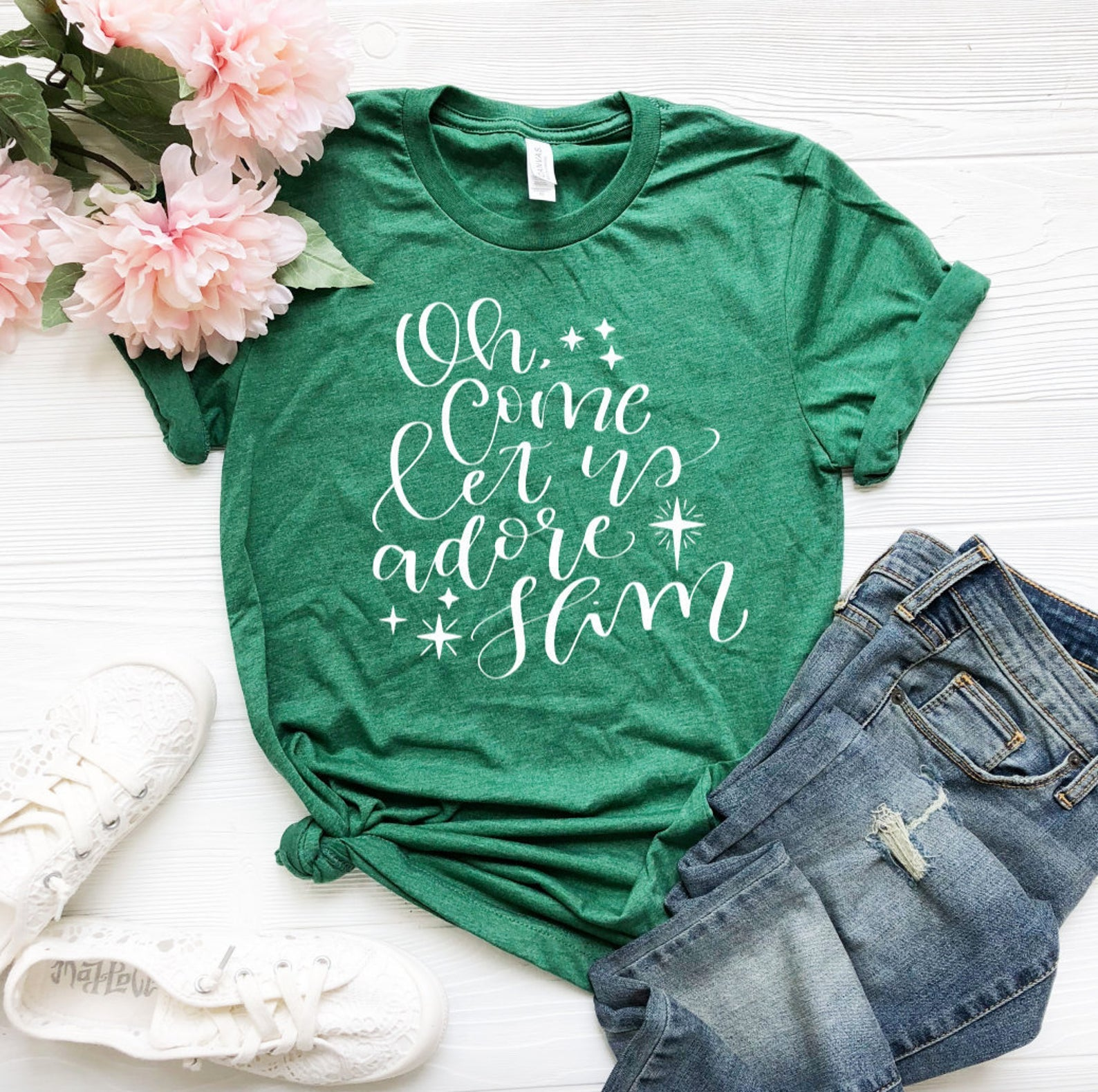 Let Us Adore Him Christmas T-shirt - Christmas T-Shirts - Cute Christmas T-Shirt - Custom Green Shirts - Green Shirts - Xmas Shirts