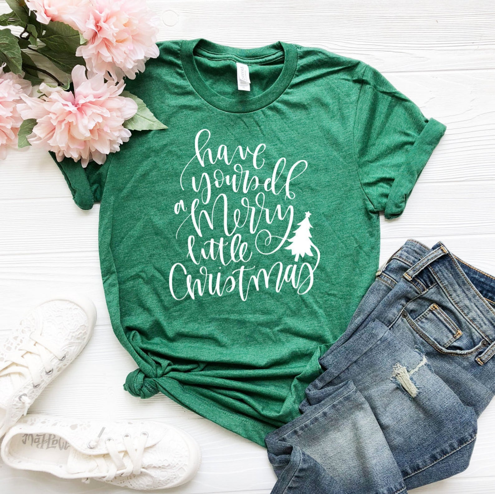 Merry Little Christmas T-shirt - Christmas T-Shirts - Cute Christmas T-Shirt - Custom Green Shirts - Green Shirts