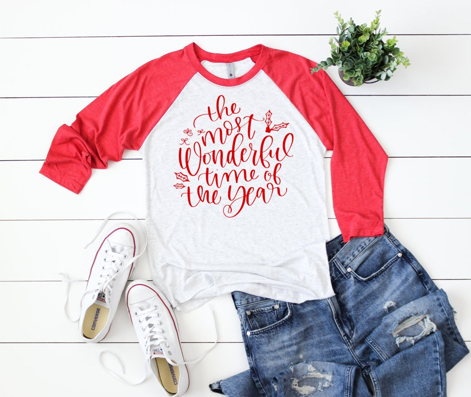Most Wonderful Time of the Year 3/4 Sleeve T-shirt - Christmas Raglans - Cute Christmas T-Shirt - Custom Christmas Shirts - Xmas Shirts