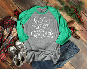 Christmas Magic 3/4 Sleeve T-shirt - Christmas Raglans - Cute Christmas T-Shirt - Custom Christmas Shirts - Xmas Shirts