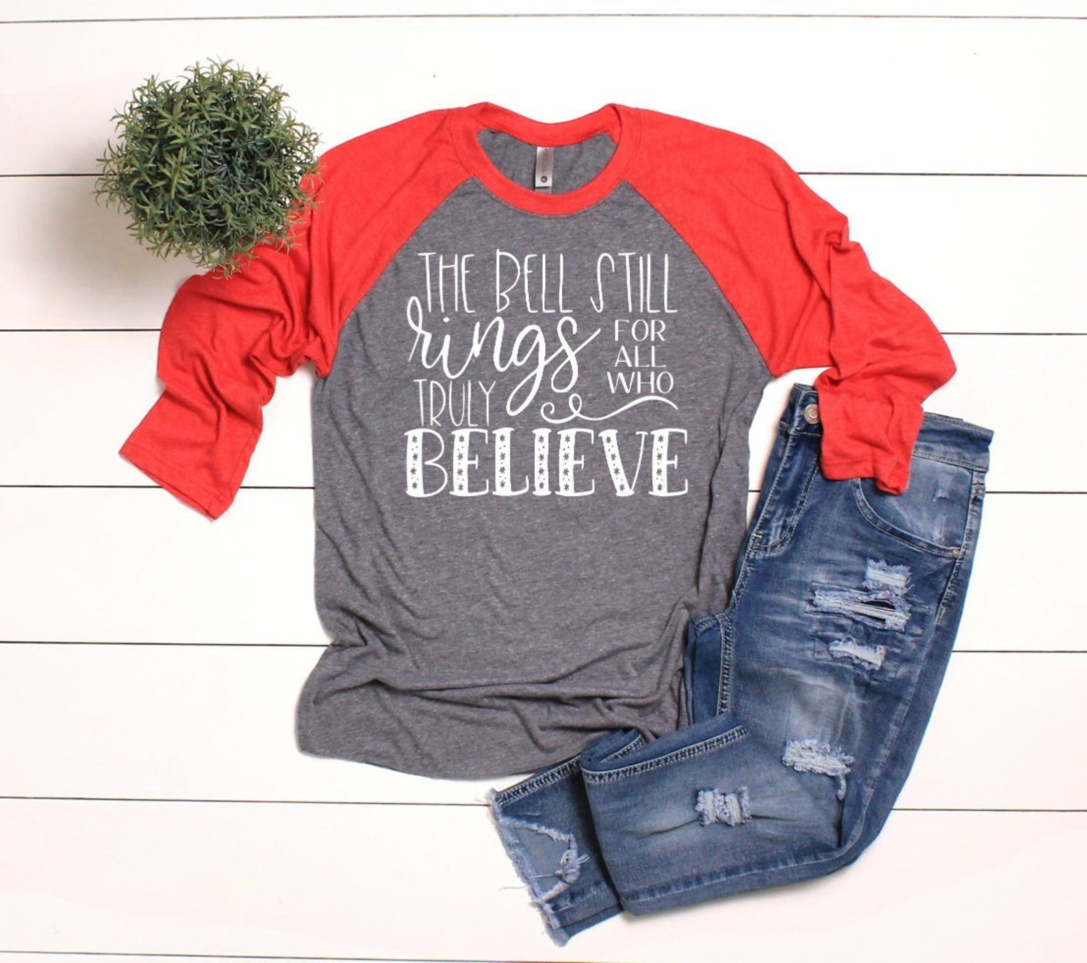 Believe Christmas 3/4 Sleeve T-shirt - Believe T-shirt - Red Christmas T-shirts - Christmas Raglans - Christmas Truly Believe Raglan